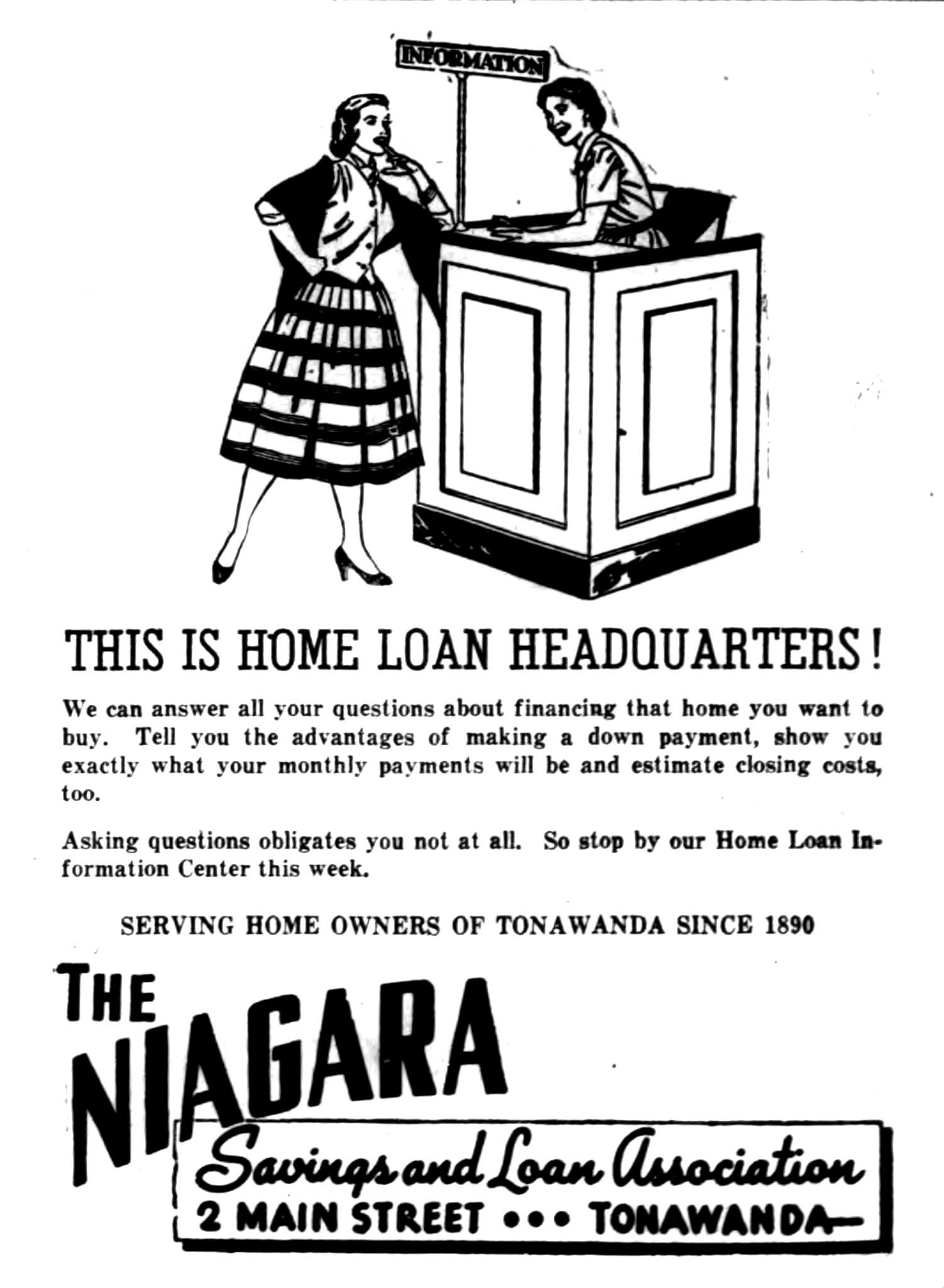 Niagara Savings and Loan - This is home loan headquarters, ad (Tonawanda ANews, 1955-08-09).jpg