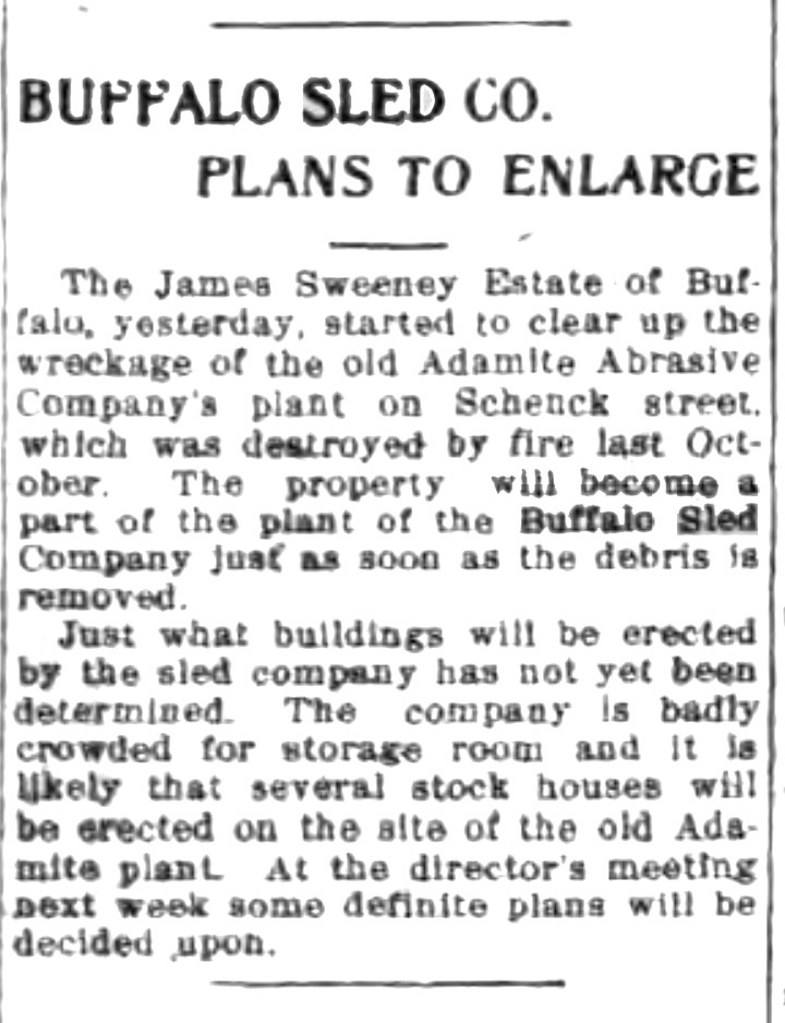 Buffalo Sled Co plans to enlarge, article (Tonawanda News, 1915-03-06).jpg