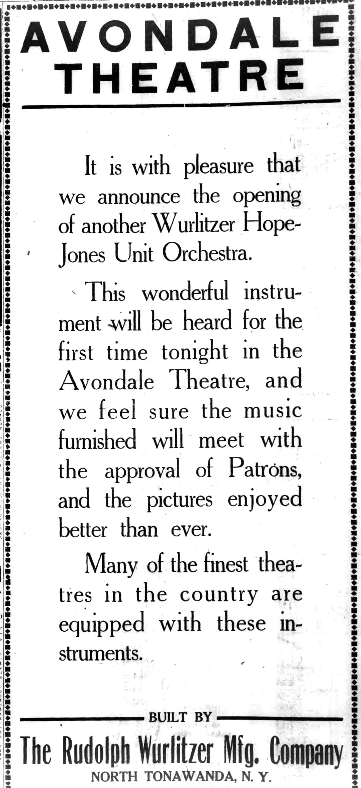 New Wurlitzer Hope-Jones Unit Orchestra at Avondale Theatre, ad (Tonawanda News, 1922-02-26).jpg
