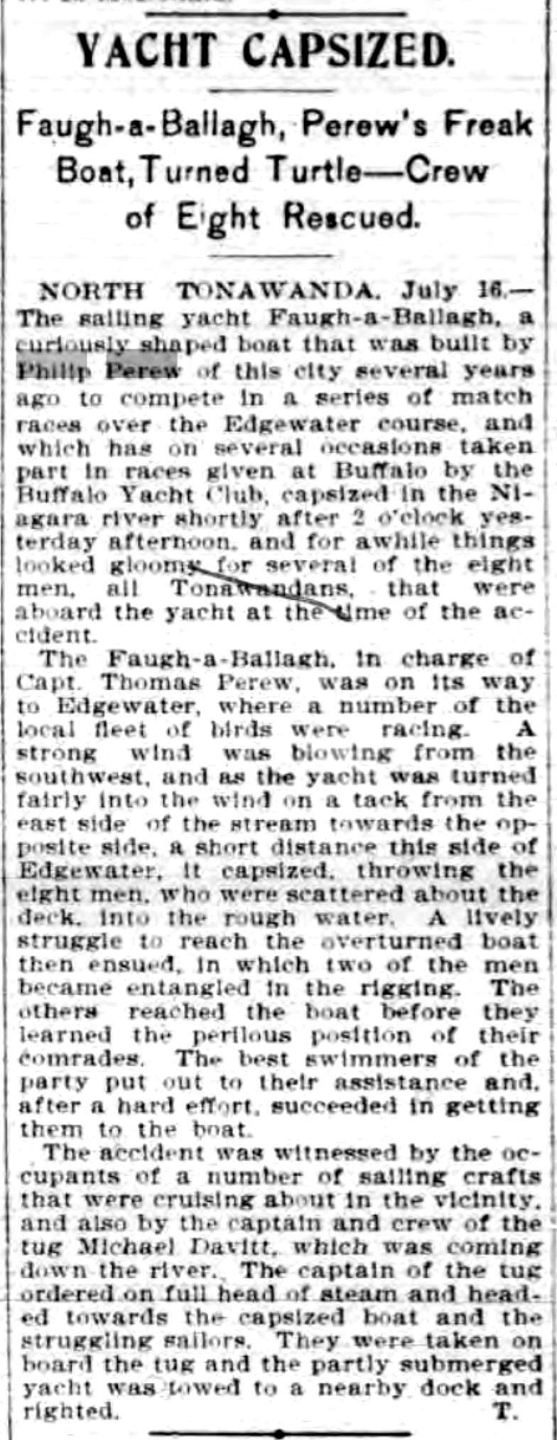Yacht capsized, Perew, article (Buffalo News, 1900-07-16).jpg