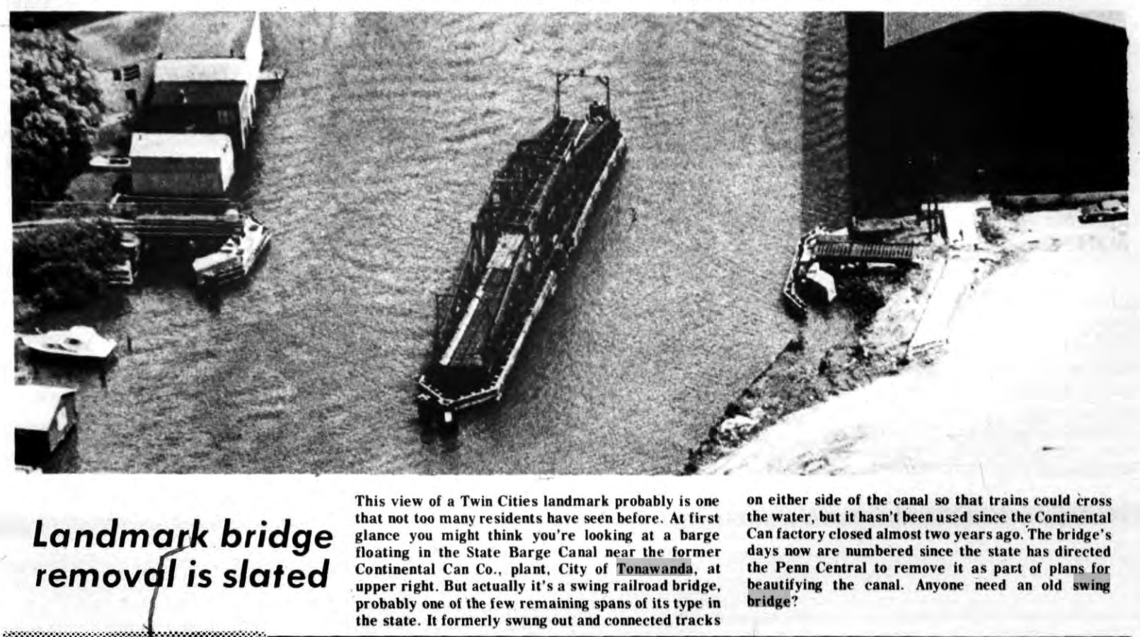 Landmark Bridge Removl Is Slated, photo article (Tonawanda News,1973-07-19).jpg
