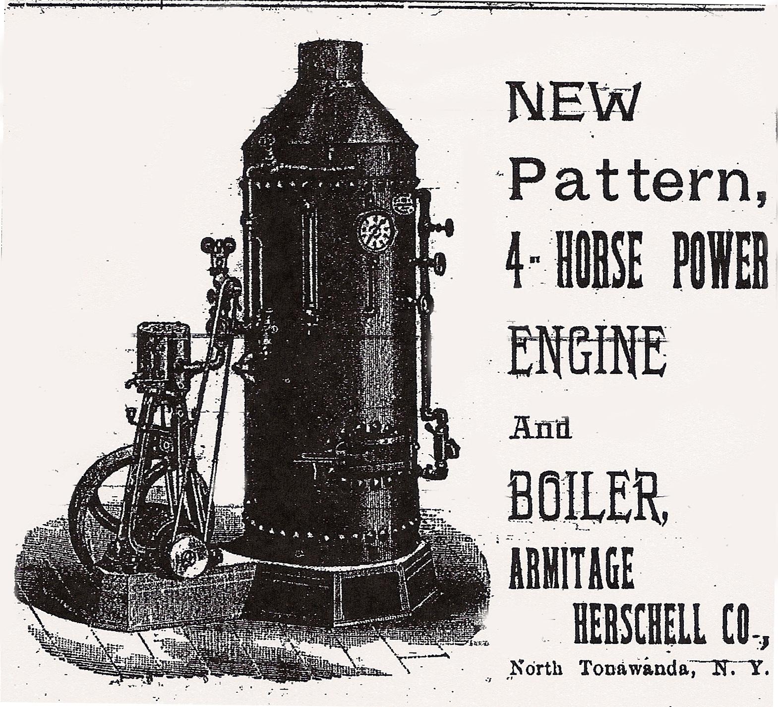 4-horse power engine and boiler, Armitage Herschell, ad (Tonawanda News, 1894.jpg