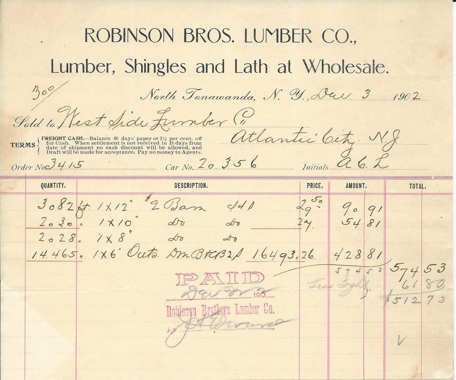 Robinson Bros Lumber Co, receipt (1902).jpg
