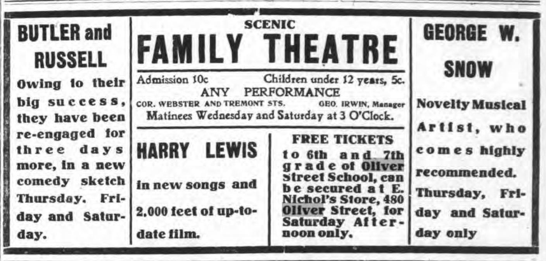 Scenic familt Theatre, ad (Tonawanda News, 1908-09-26).jpg