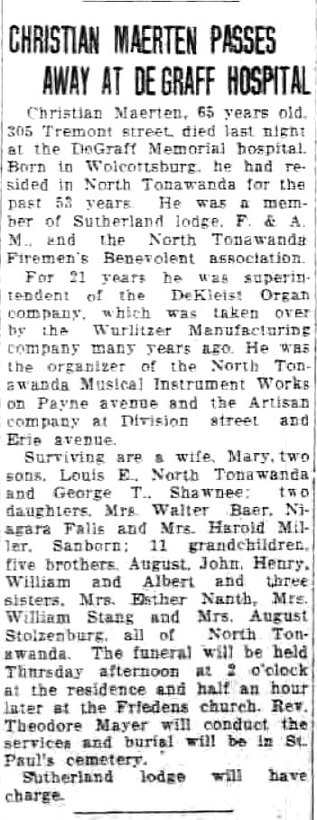 Christian Maerten Passes Away at DeGraff Hospital (Tonawanda News, 1933-06-12).jpg