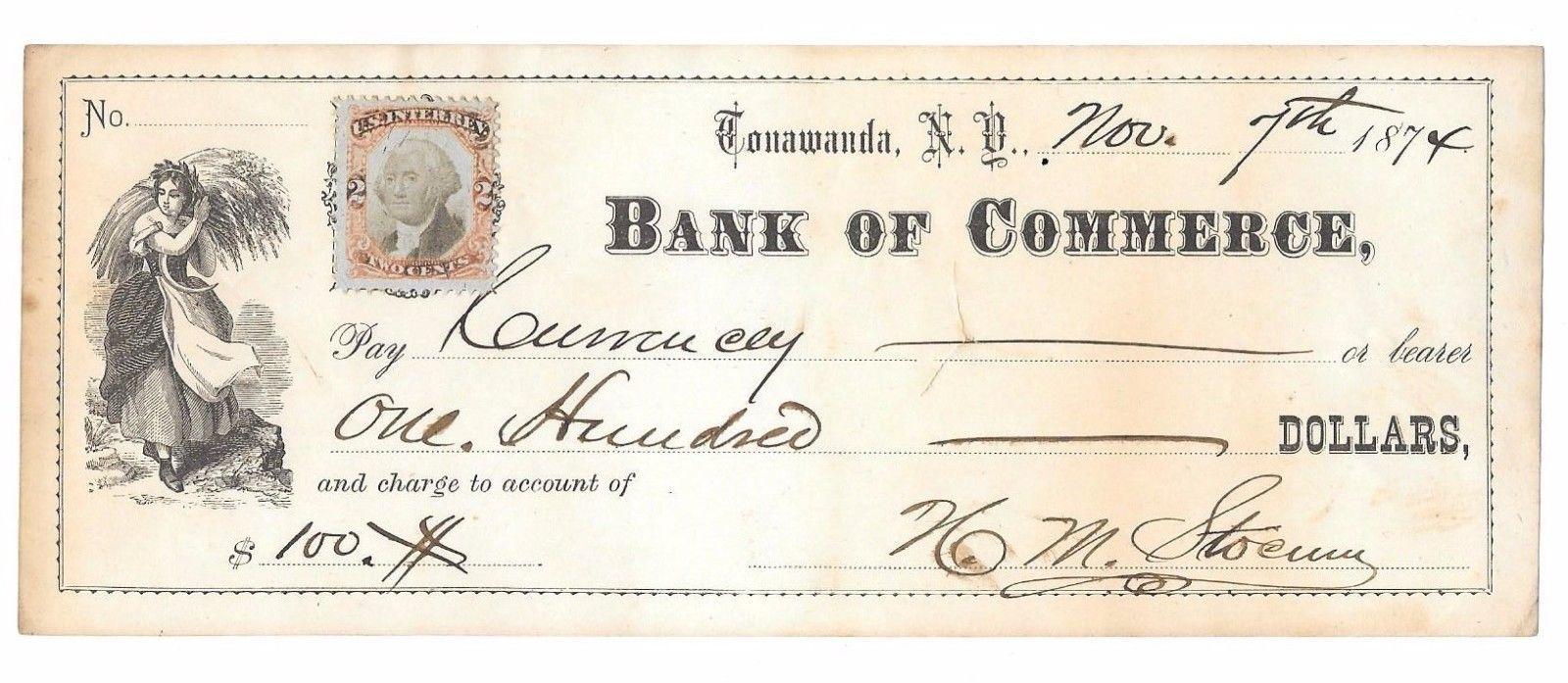 Bank of Commerce, Tonawanda, H.M. Stocum, check (1874-11-07).jpg