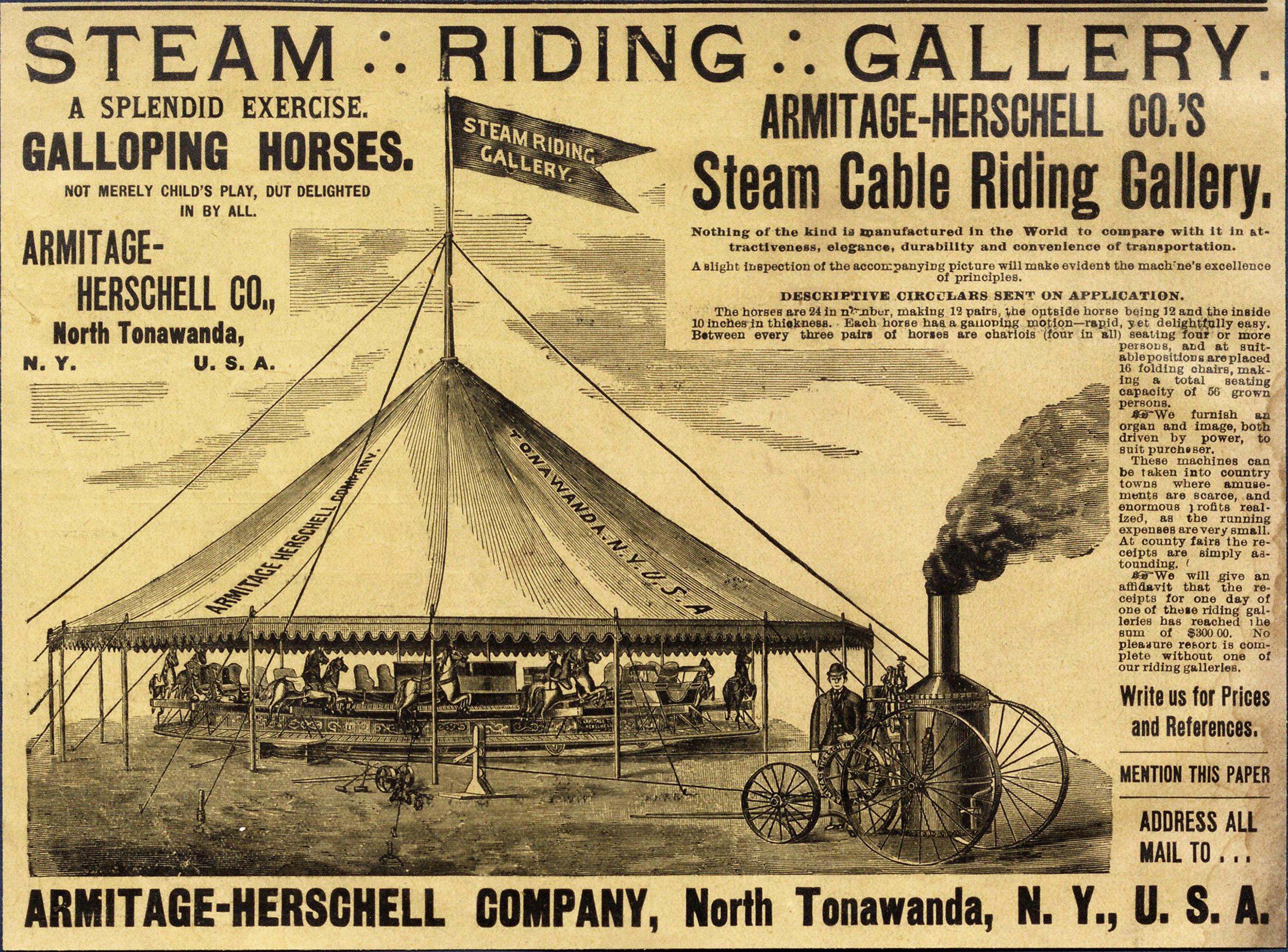 Armitage-Herschell Steam Riding Gallery, ad (1894).jpg