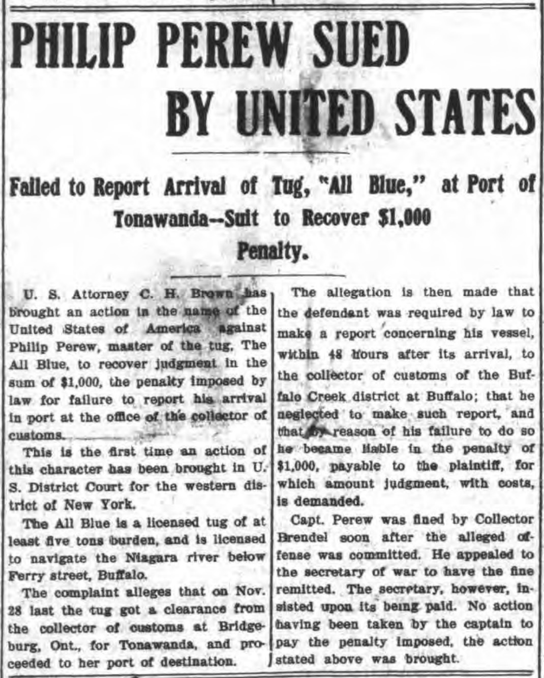Philip Perew suide by United States, article (Tonawanda News, 1905-12-16).jpg