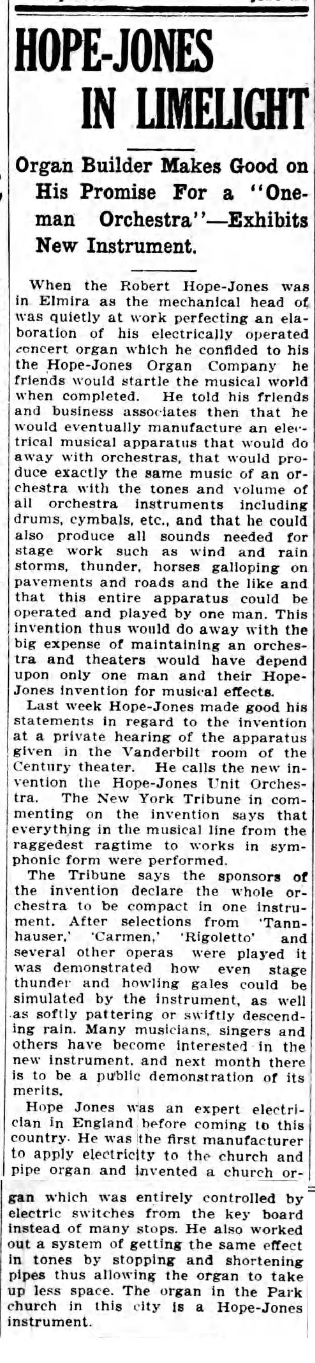 Hope-Jones in limelight, Delivers one-man orchestra article (Elmira Star-Gazette, 1912-07-15).jpg