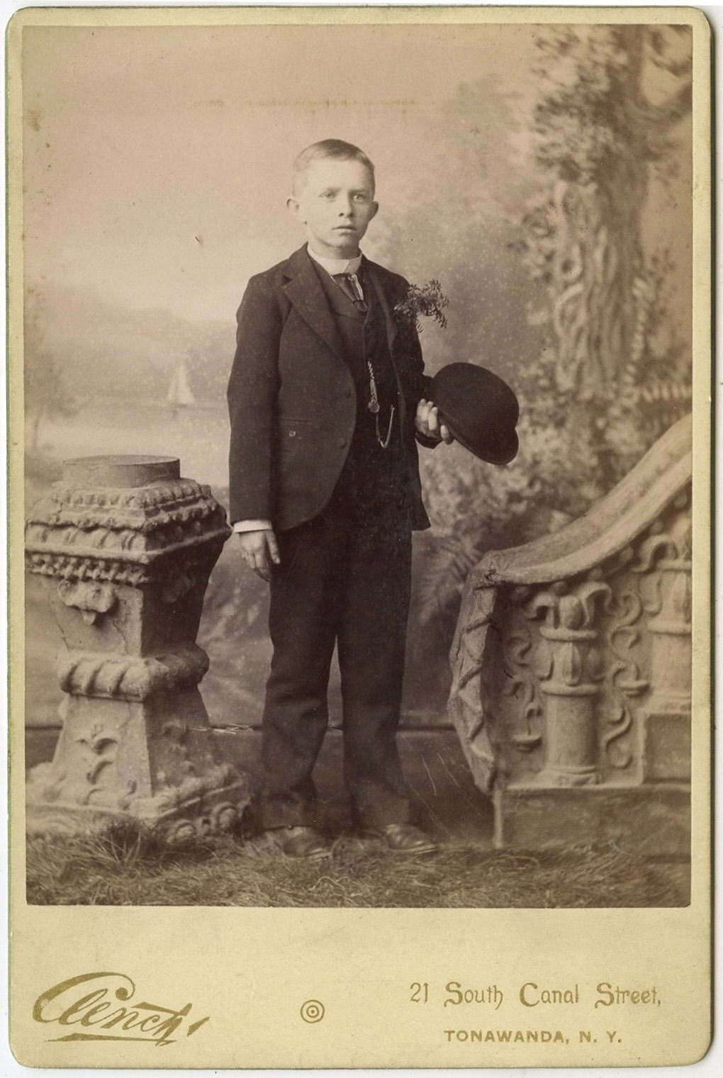 Young boy, Clench photographer, cabinet card photo (c1890).jpg