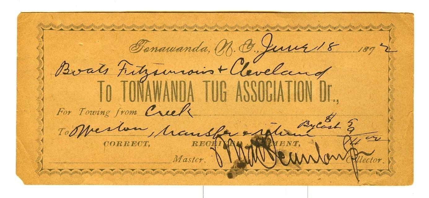 Tonawanda Tug Association Dr., towing receipt (1892).jpg