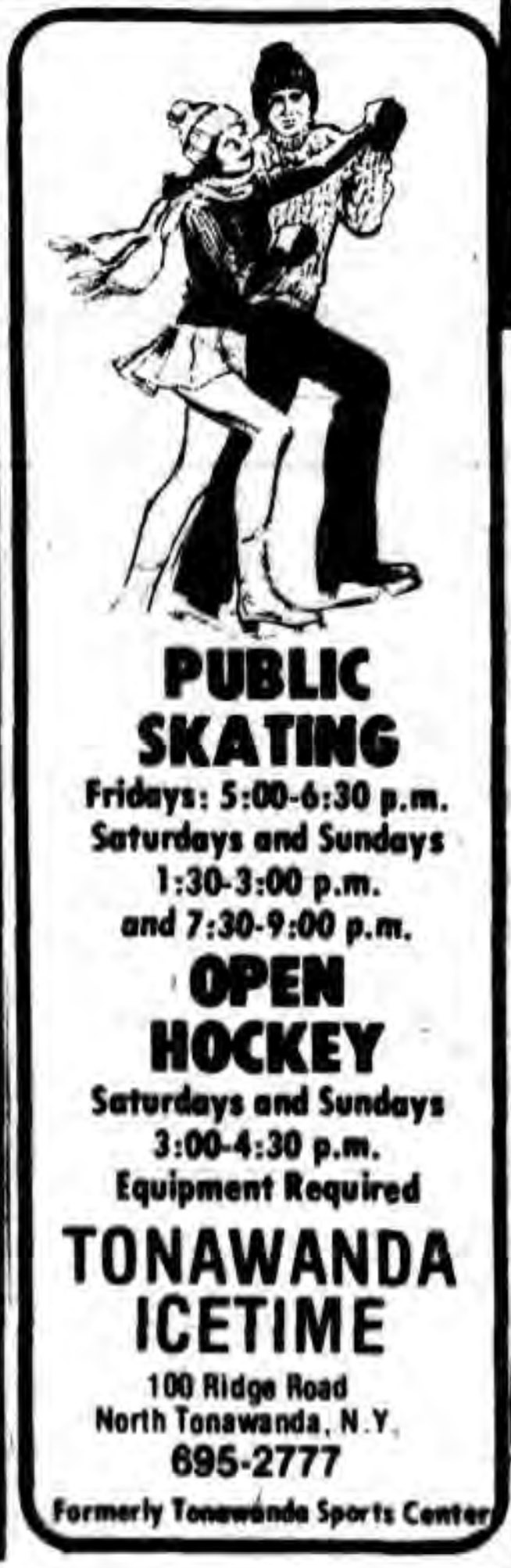 Tonawanda Icetime, illustrated ad (Tonawanda News, 1979-10-19).jpg