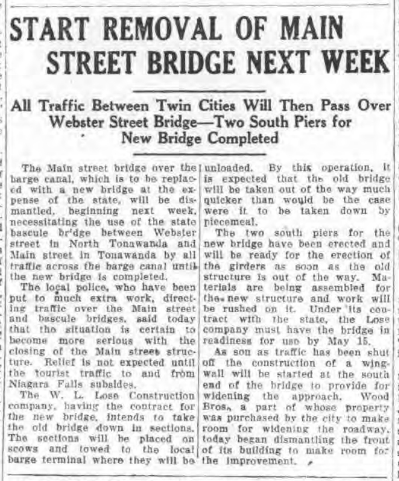 Start removal of Main-Delaware Street bridge next week, article (Tonawanda News, 1928-08-28).jpg