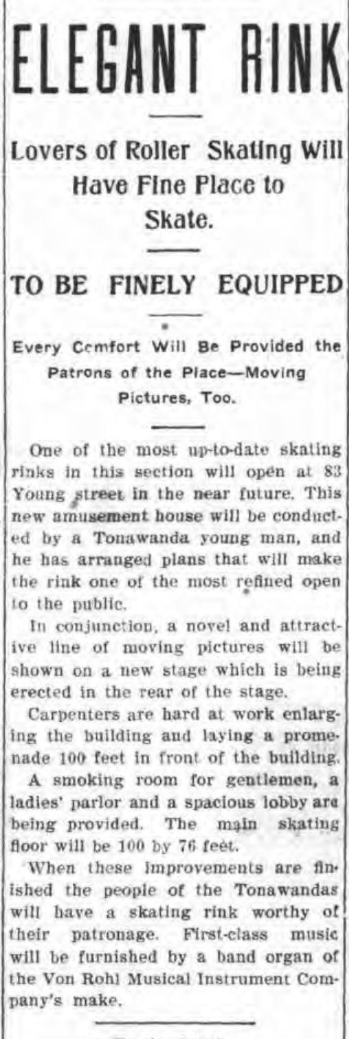 Elegant rink at 83 Young, Von Rohl organ, article (Tonawanda News, 1908-11-03).jpg
