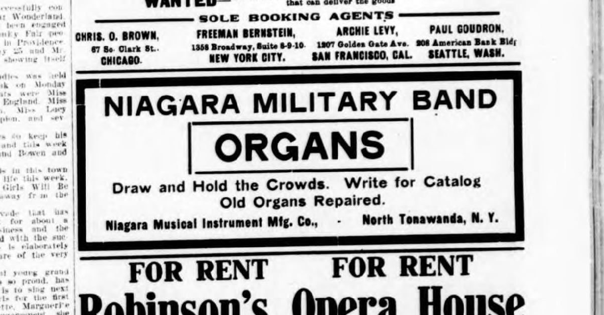 Niagara Military Bands, ad (Billboard, 1907).jpg