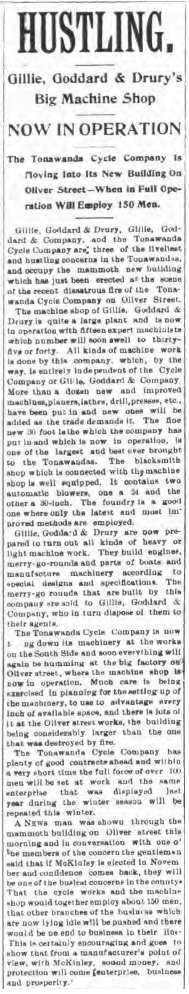 Hustling, Gillie Goddard and Drurys Big Machine Shop, article (Tonawanda News, 1896-10-15).jpg