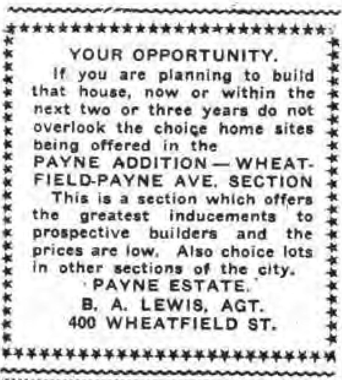 Payne Addition, Wheatfield-Payne section, ad (Tonawanda News, 1920-04-19).jpg