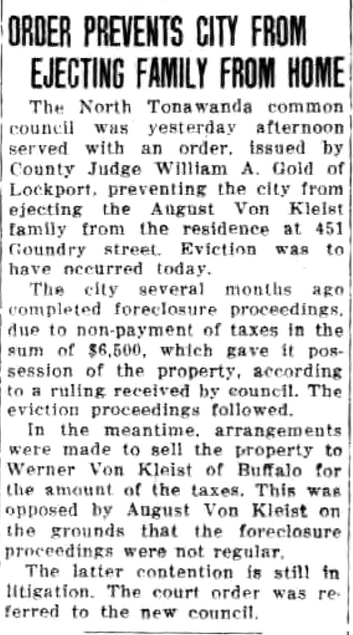 Order Prevents City from Ejecting August vov Kleist Family from Home, article (Tonawanda News, 1933-12-10).jpg