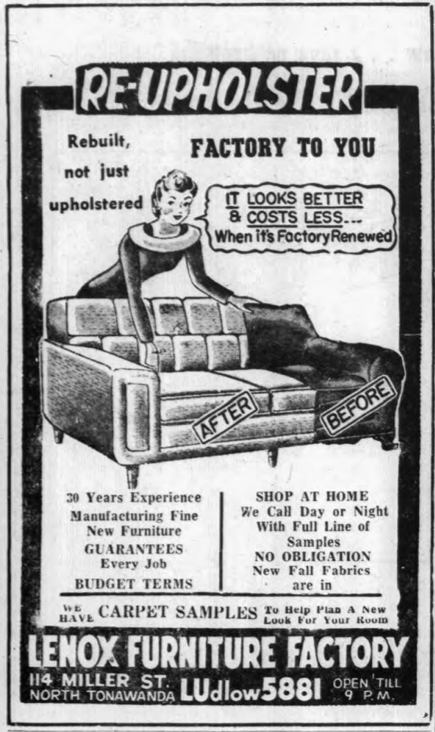 Lenox Furniture Factory, 114 Miller, logotype, ad (Tonawanda News, 1958-10-08).png