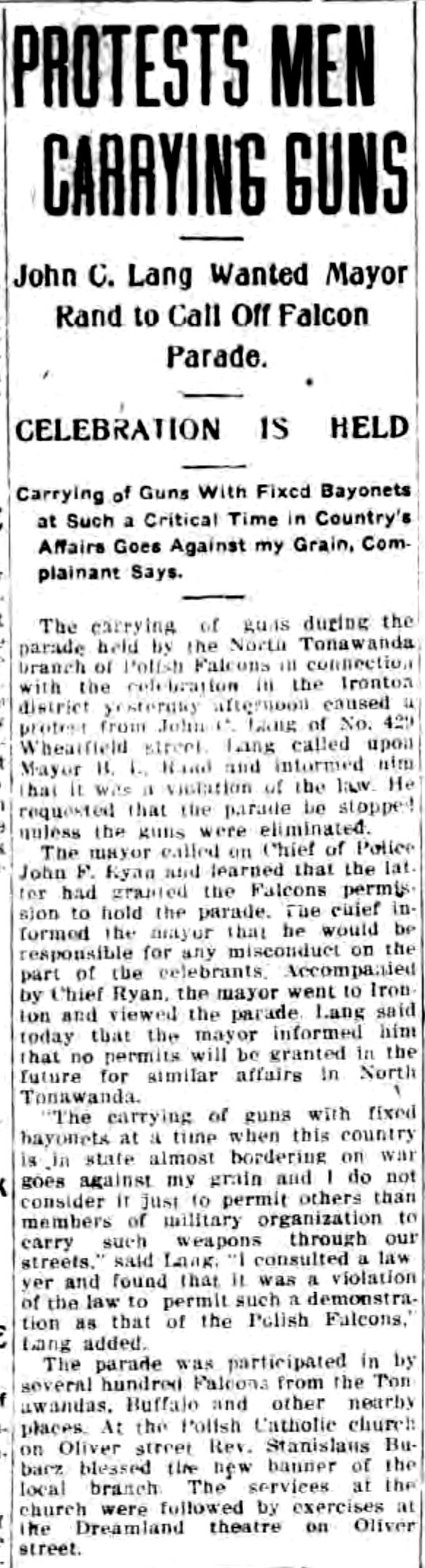 Protests men carrying guns, Ironton Polish Falcon parade, Dreamland, article (Tonawanda News, 1915-08-23).jpg