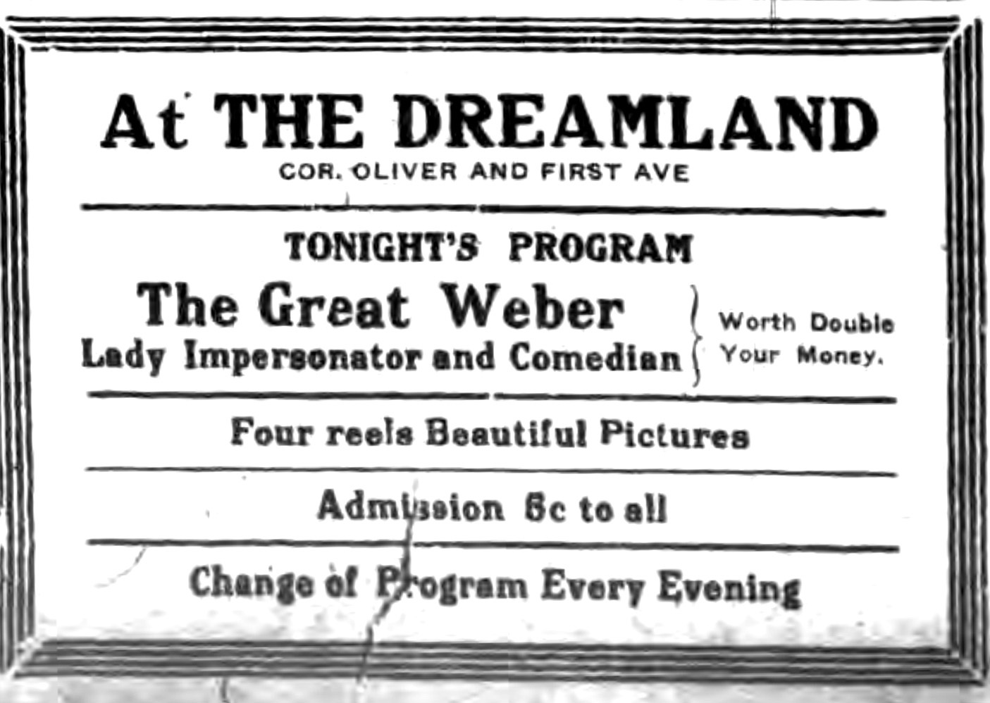 At the Dreamland, ad (Tonawanda News, 1914-07-31).jpg