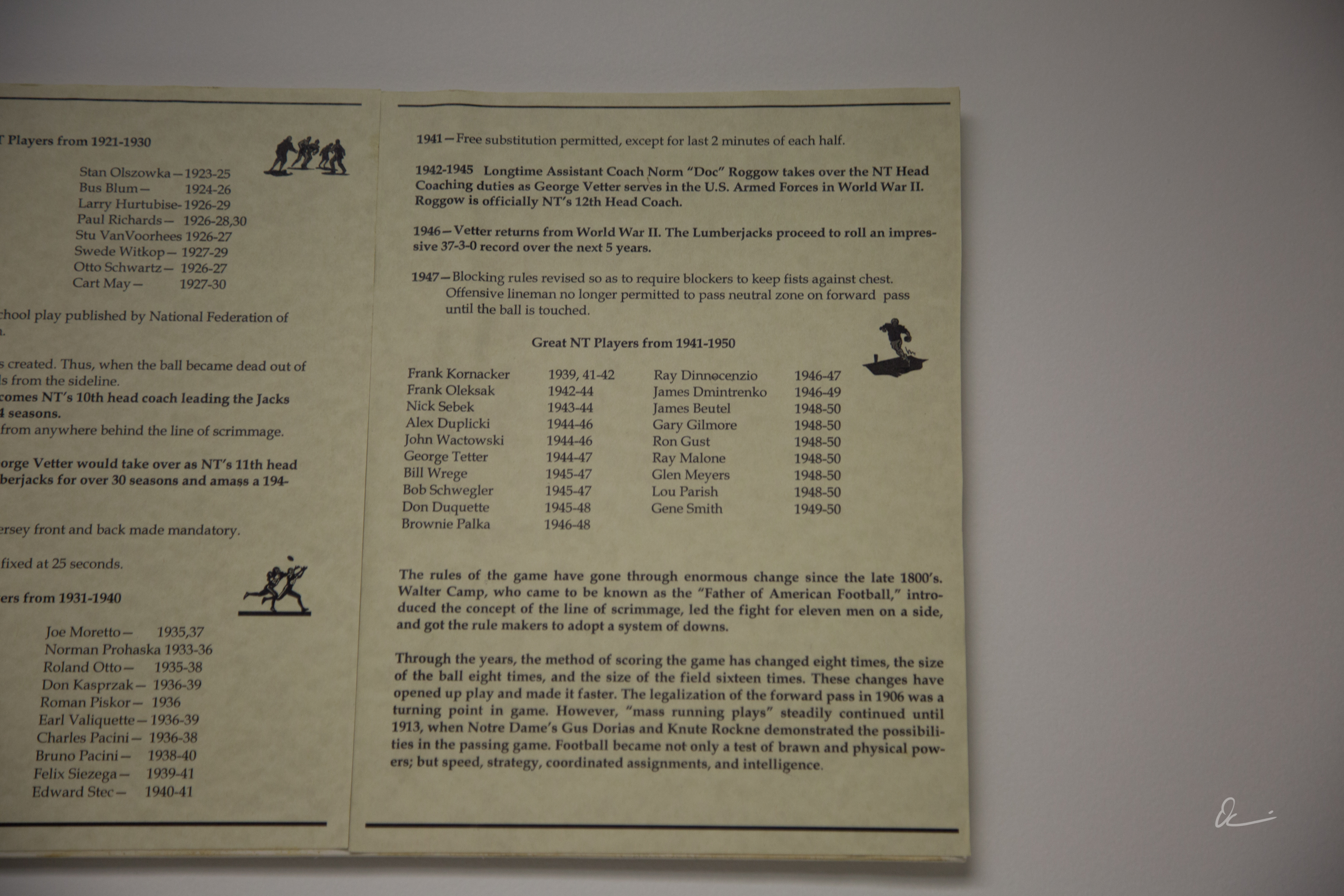 How Rule Changes Have Shaped the Game, display at the North Tonawanda Football Hall of Fame (2017) 4.jpg