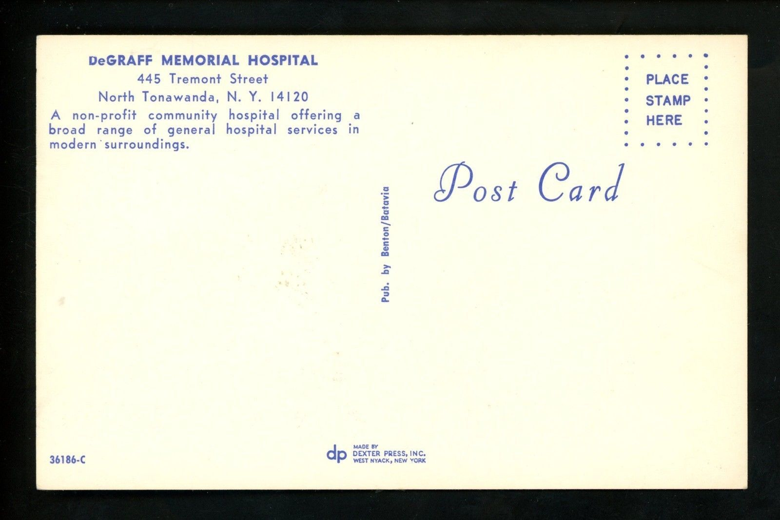 DeGraff Hospital, postcard back (c1960).jpg