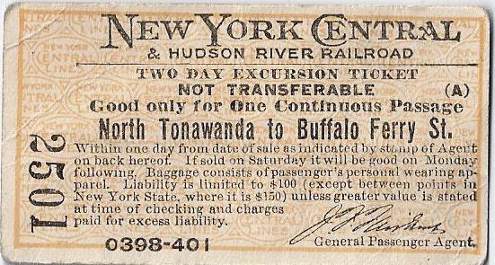New York Central RR, North Tonawanda to Buffalo, ticket (1910).jpg