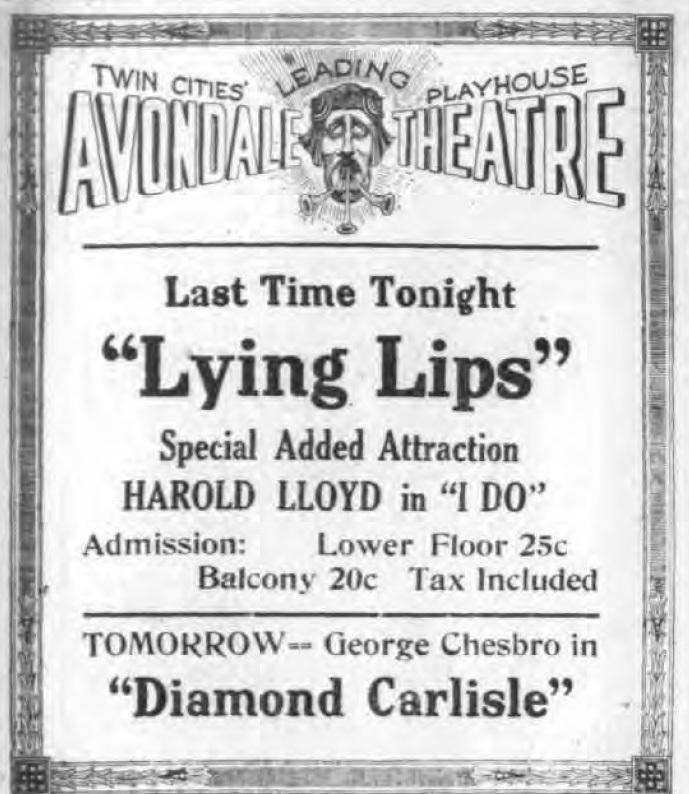 Avondale Theatre, Lying Lips, ad (Tonawanda News, 1922-05-31).jpg