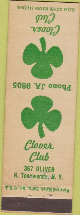 Clover Club, 367 Oliver, matchbook (c1940).jpg
