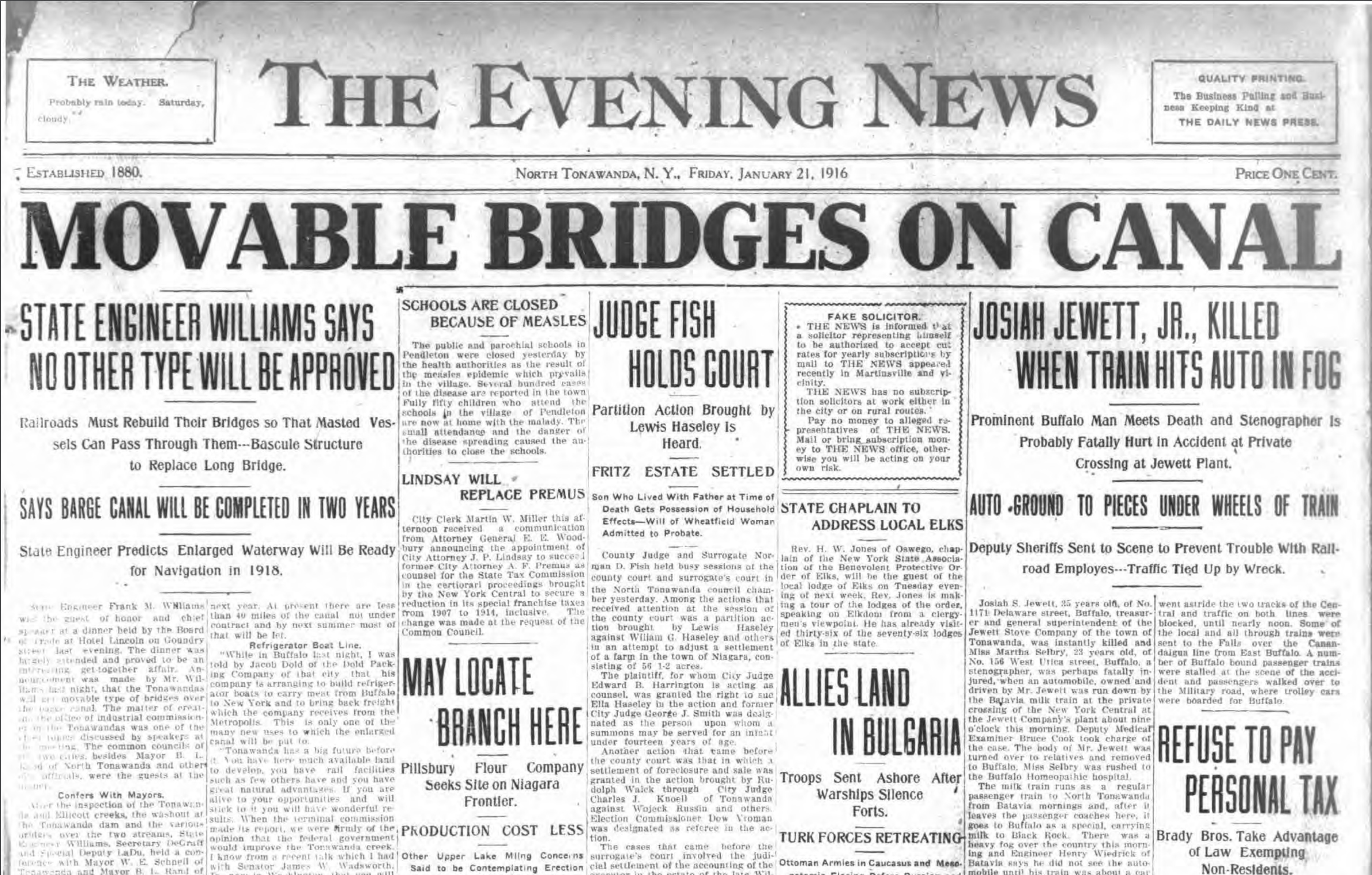 Movable bridges on canal bridge, headline article (Tonawanda News, 1916-01-21).jpg