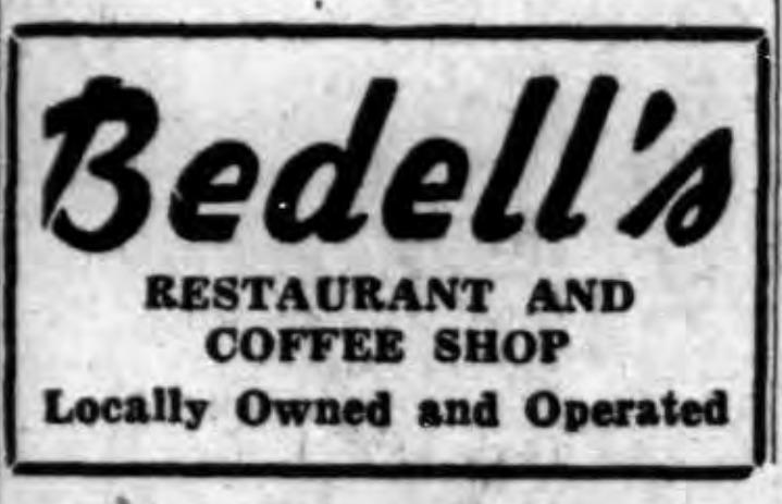 Bedells, logotype ad (Tonawanda News, 1955-04-14).png