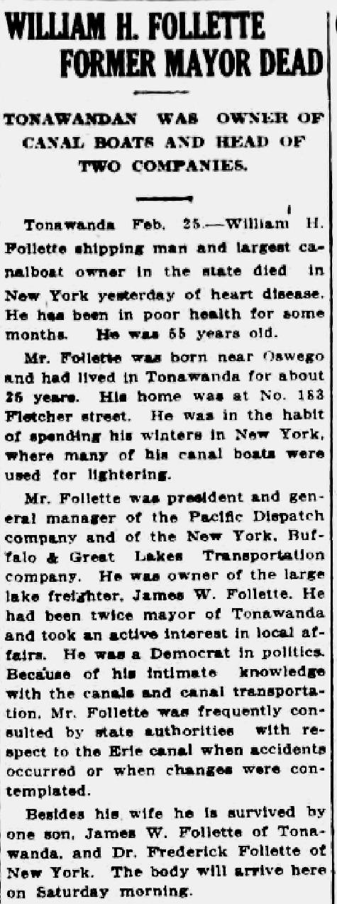 William H Follette, former mayor, is dead, obit (Tonawanda News, 1916-02-25).png
