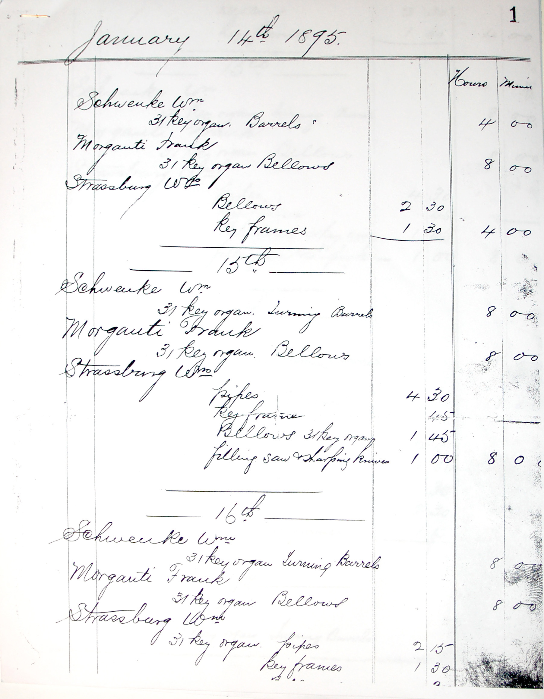 Barrel Organ Factory work ledger, Schwenke, Morganti, Strassburg (1895-01-14).jpg