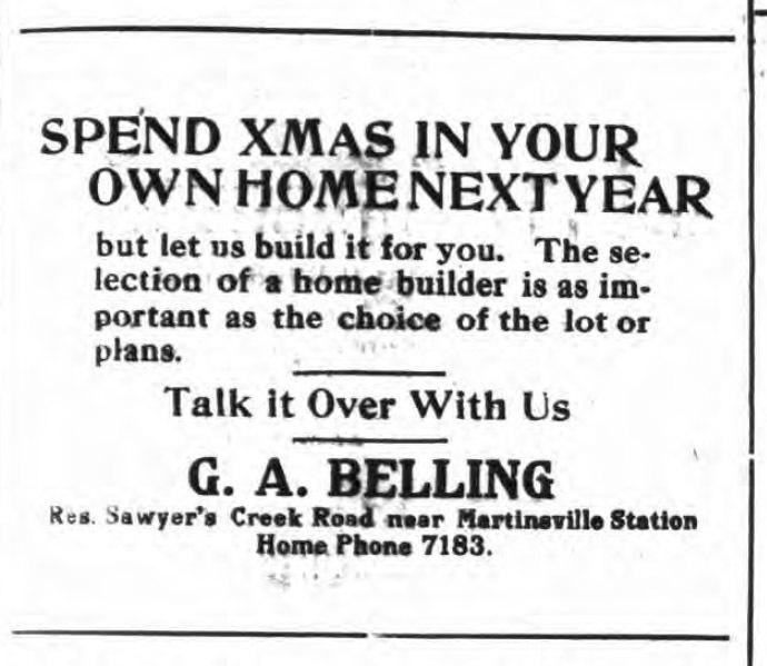 G. A. Belling, homebuilder, ad (Tonawanda News, 1912-12-07).jpg