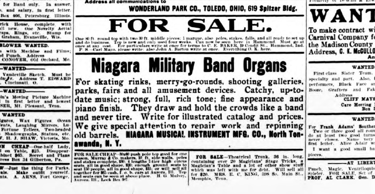 Niagara Military Band Organs, ad (Billboard, 1907-02-07).jpg