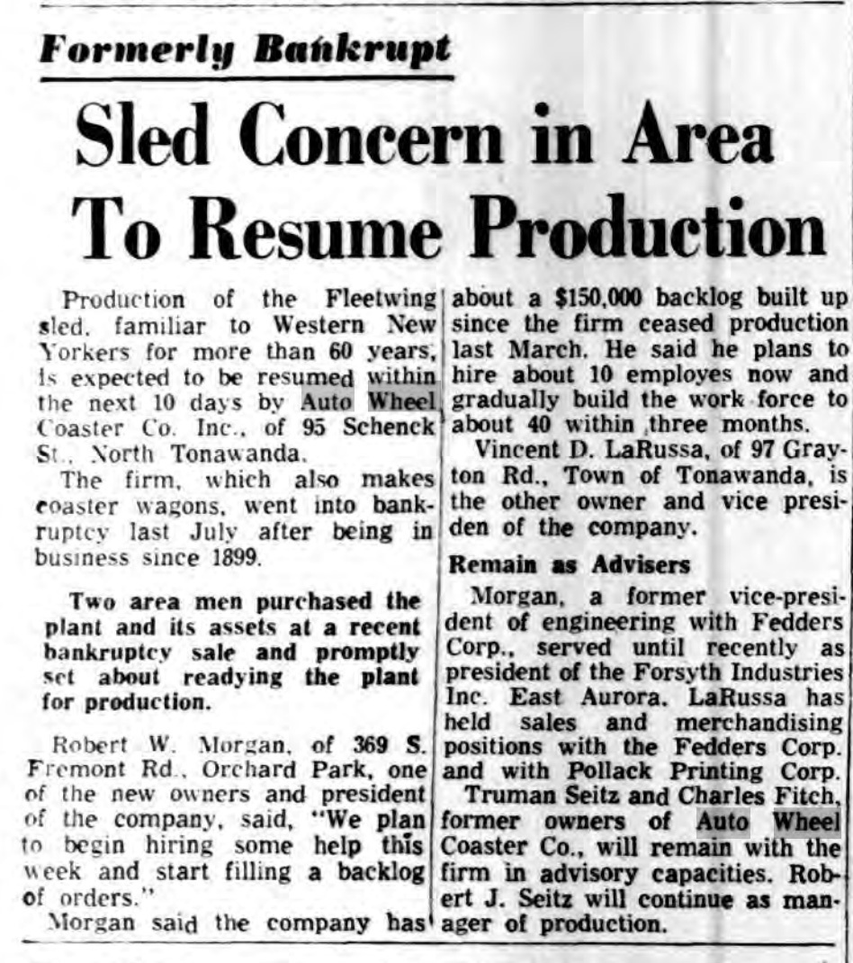 Sled concern in area to resume production, article (Buffalo Courier-Express, 1964-09-28).jpg