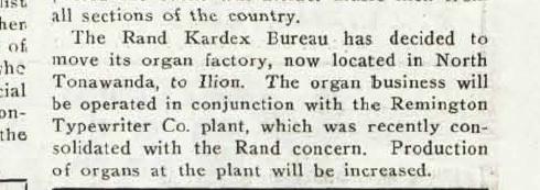 Rand Kardex Bureau moves organ factory, article (Music Trade Review, 1927-06-18).jpg