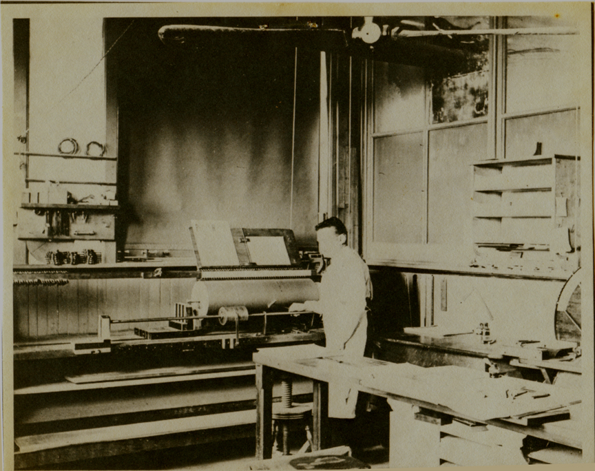 Barrel Organ Factory barrel-pinning, photo (Trager, c1900).jpg