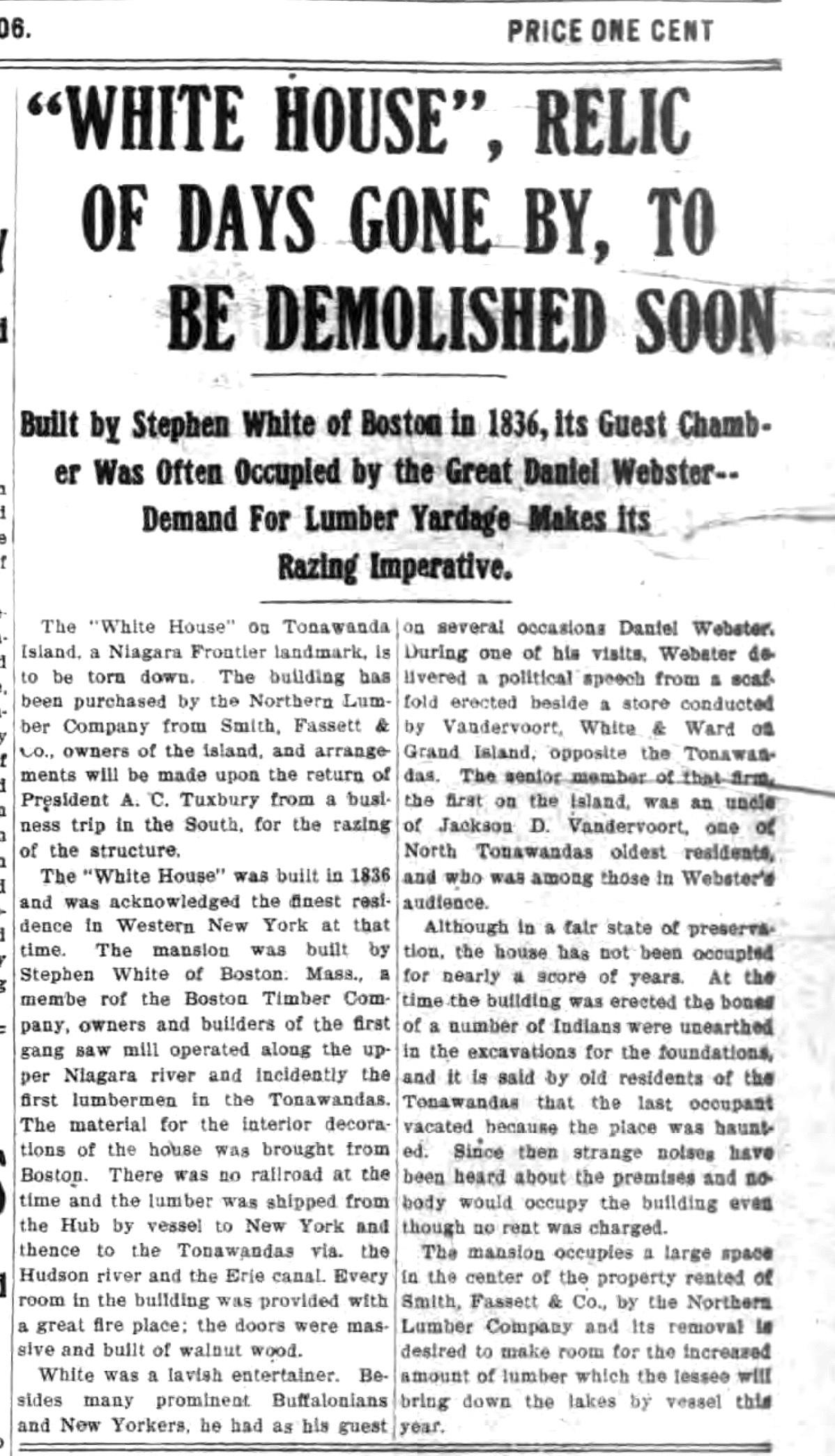 White House relic to be demolished soon, article (Tonawanda News, 1906-03-17).jpg