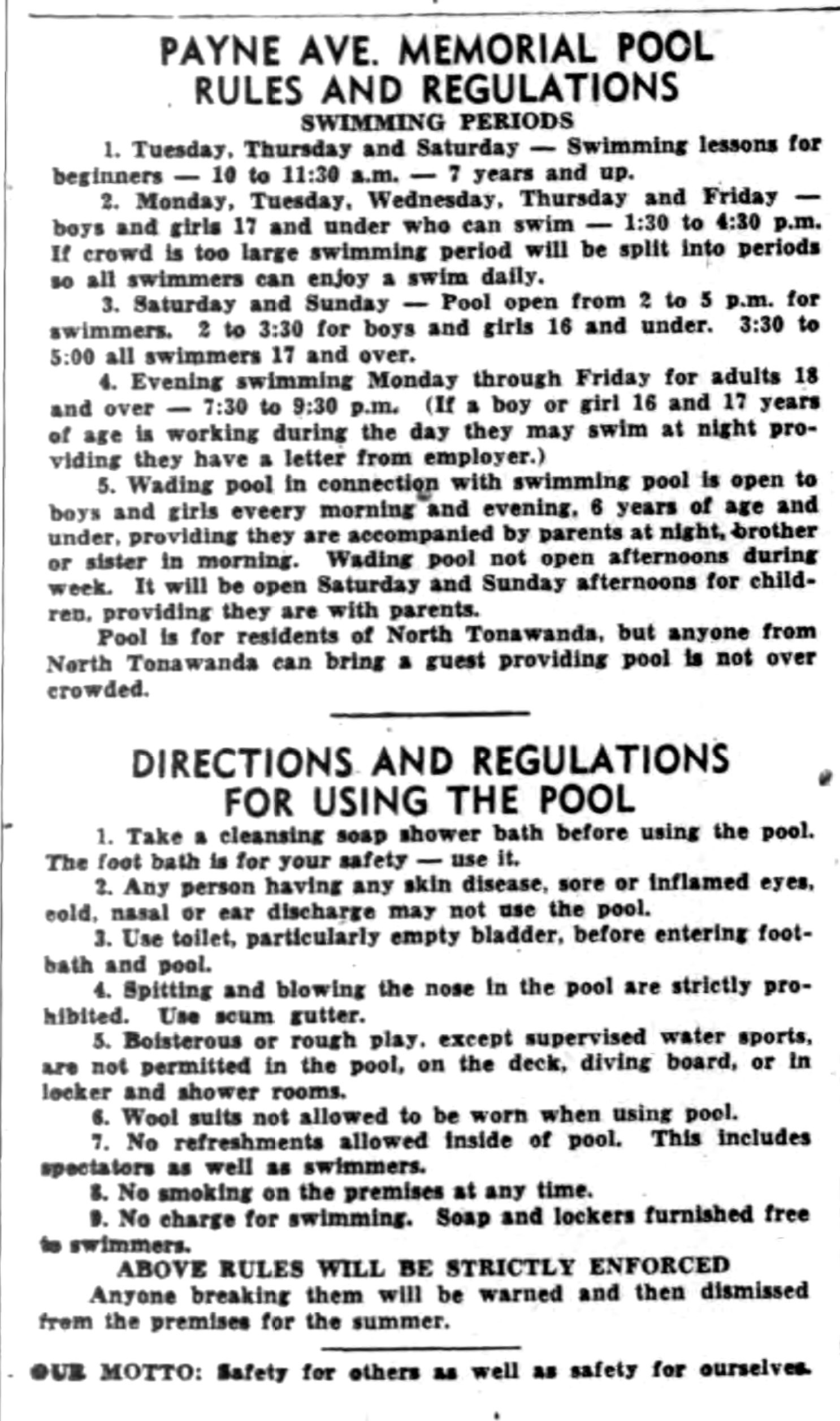Memorial Pool rules and regulations, article (Tonawanda News, 1948-07-24).jpg