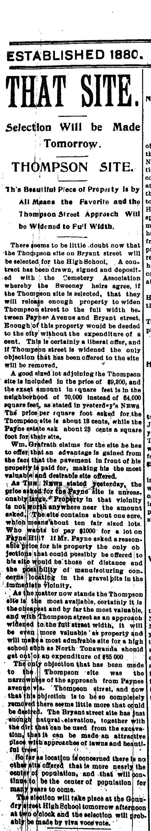Thompson Site for New High School, article (Tonawanda News, 1900-01-05).jpg