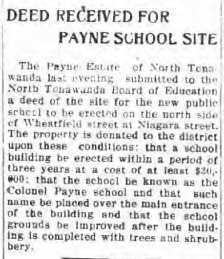 Deed received for Payne school site, Colonel Payne, article (Tonawanda News, 1914-03-28).jpg