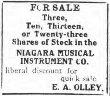 Olley looking to sell Niagara MIMC stock, ad (Tonawanda News, 1912-01-05).jpg