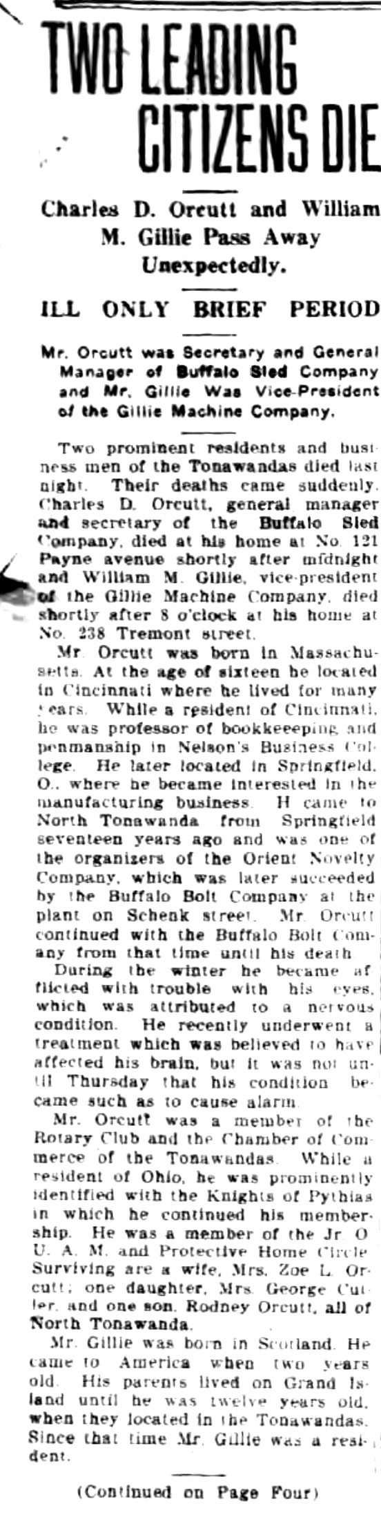 Two leading citizens die, Orcutt and Gillie, article (Tonawanda News, 1920-04-20, 0788).jpg