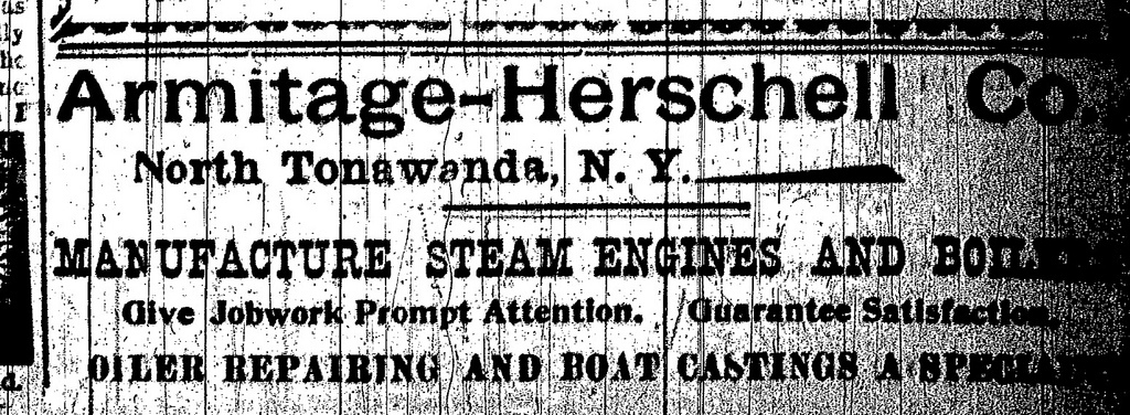 Armitage-Herschell Co., steam engines and boilers, ad (Tonawanda News, 1897-11).jpg