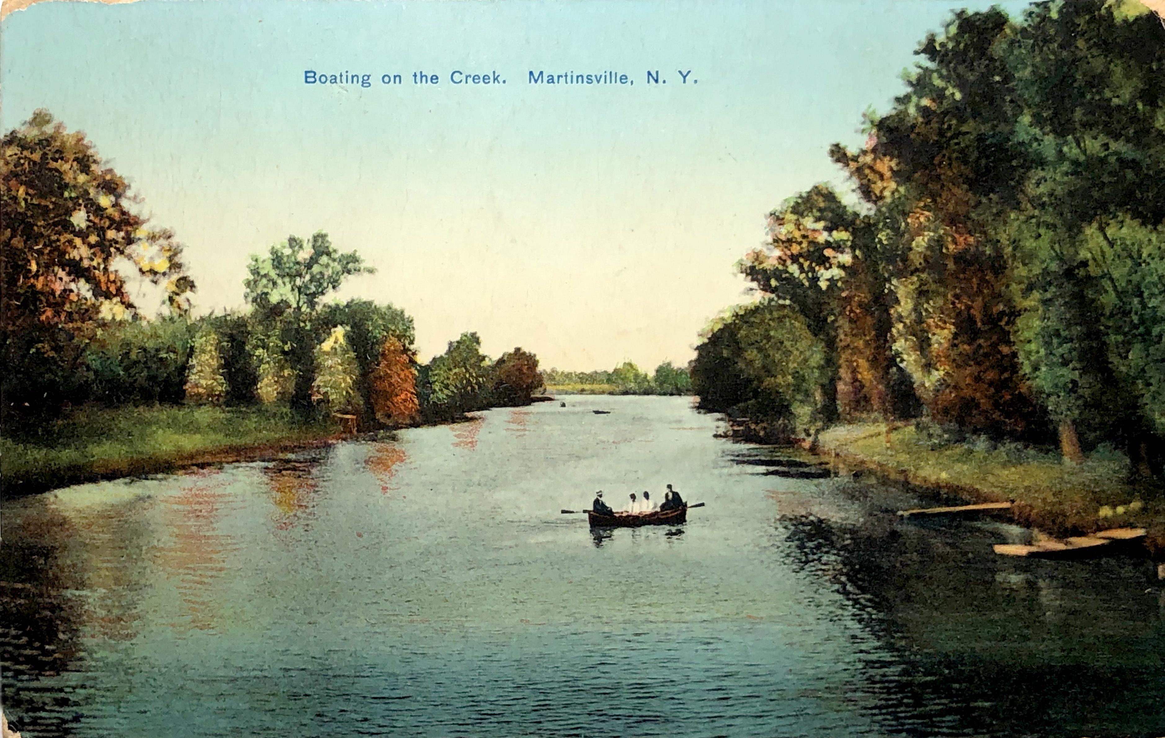 Boating on the Creek, postcard, Martinsville, postcard (c.1905).jpg