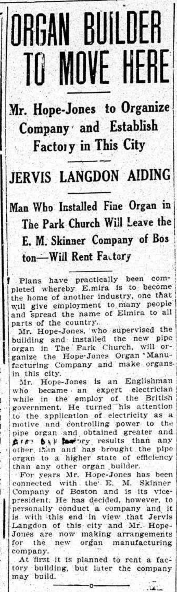 Organ builder to move here, article (Elmira Star-Gazette, 1907-01-18).jpg