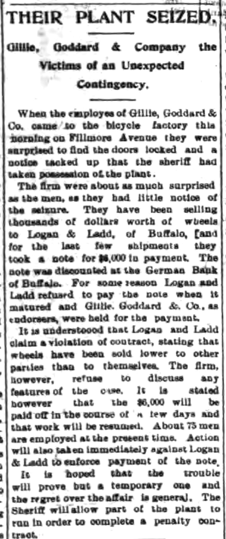 Their Plant Seized - Gillie, Goddard and Co., on Fillmore, article (Tonawanda News, 1896-09-30).jpg