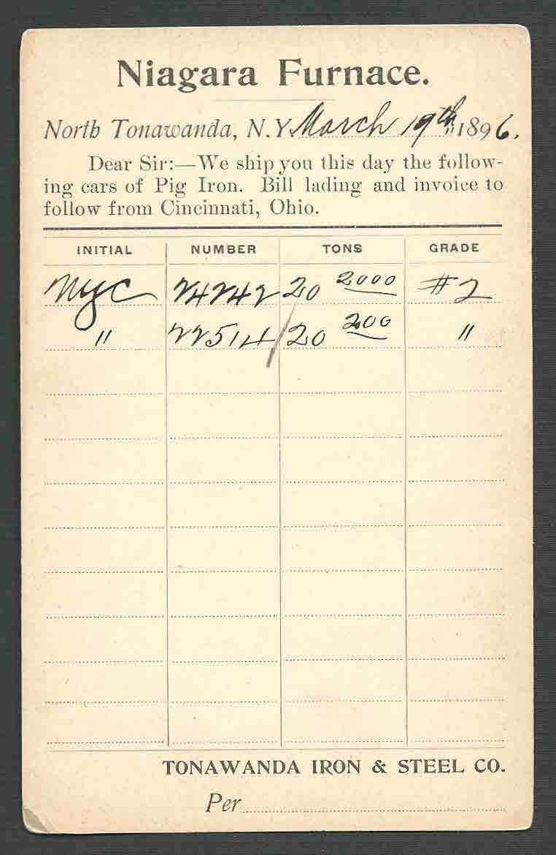 Tonawanda Iron and Steel, Niagara Furnace, invoice (1896).jpg
